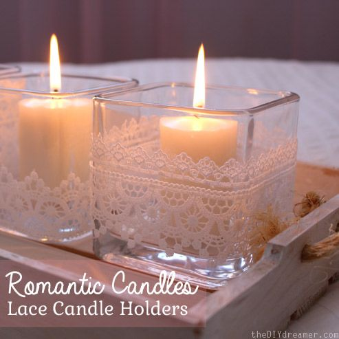 Romantic Lace Candle Holders - Valentine's Day Decor