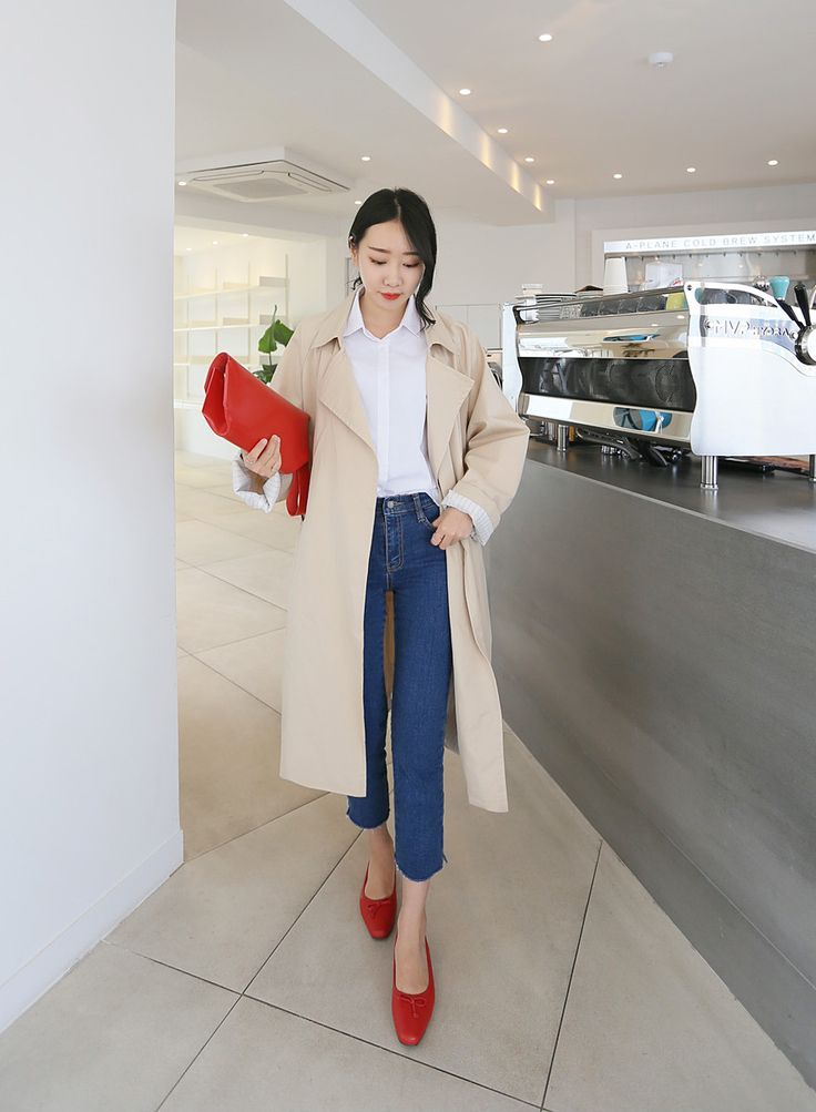 Basic Notched Collar Ribbon Strap Trench Coat by Daily about