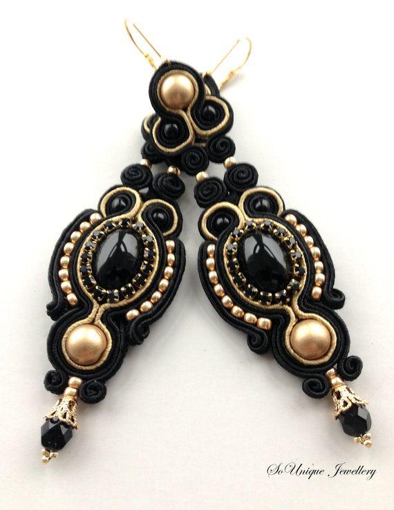 Black long soutache earrings with onyx gemstone.