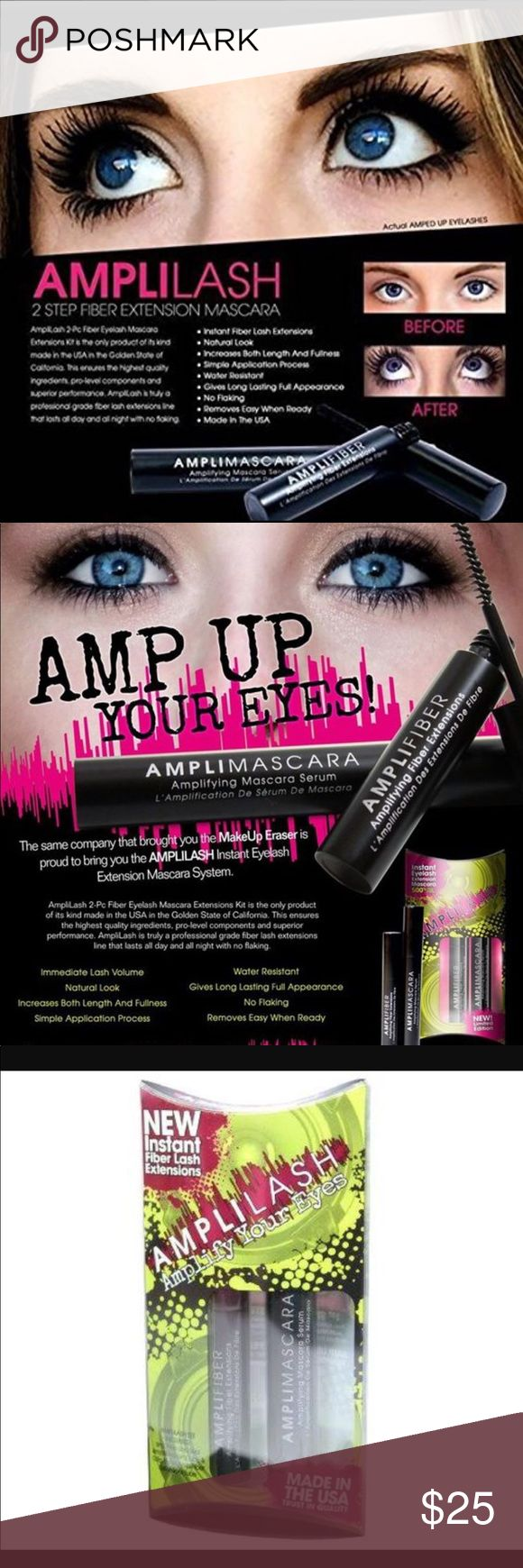 "Amplilash fiberlash extensions mascara FREE GIFT Brand new in package. never opened! Amplilash lash amplifying mascara. Two piece fiber lash extensions mascara set. ""Rich black color and when properly applied, it will last all day and night with no flaking or burning!"" See photo for ingredient list. **I will throw in a free gift with purchase! You will receive a brand new tube of Awaken eye revitalizer cream by Rocasuba (15.3ml)!***      (Not Mac) Makeup Mascara"