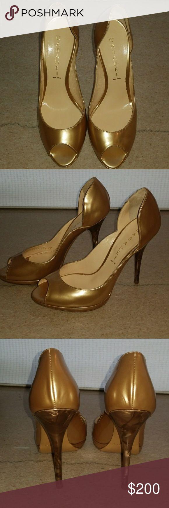 Casadei peep toe heels Beautiful gold peep toe heels with goregous marbled detailed heel. Never worn. Casadei Shoes Heels