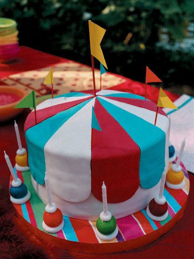 This big top cake is perfect for a circus-themed party. Here is how you make one.