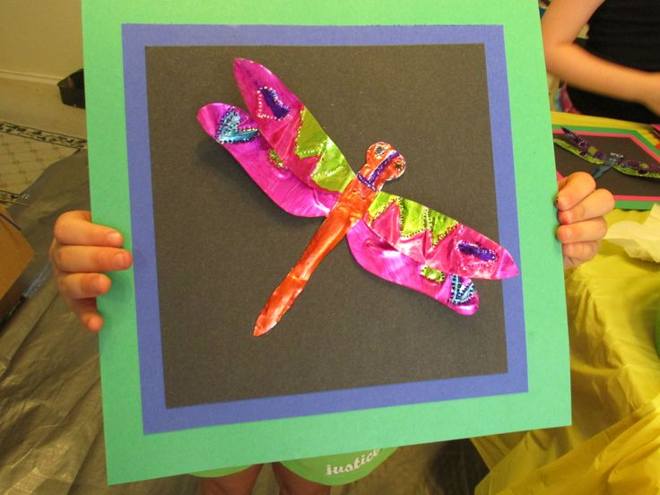 3rd grade embossed dragonfly tin art 7 wide lesson by for Crafts for 3rd graders