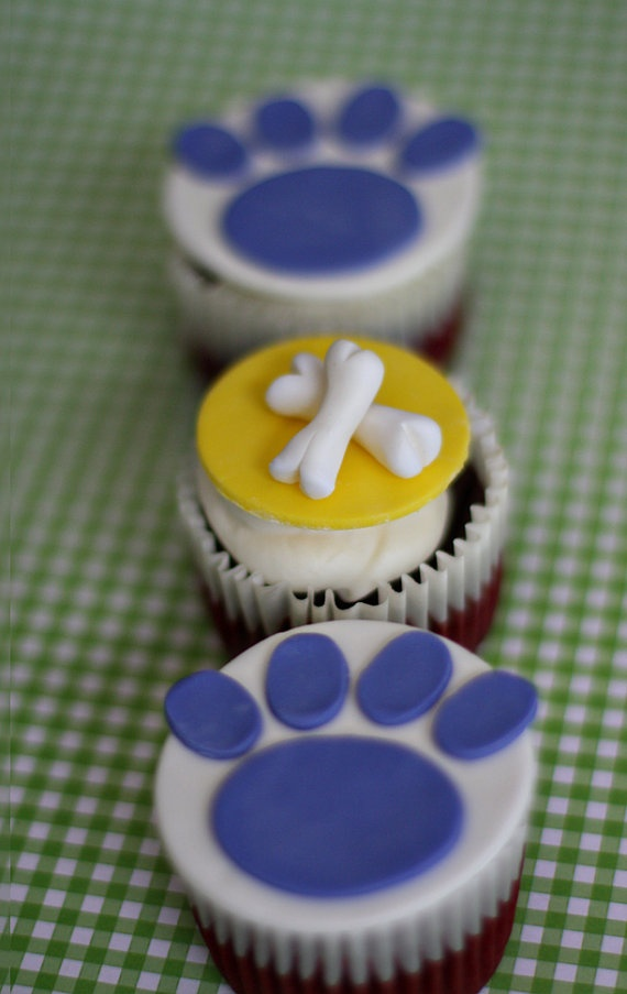 Fondant Dog Bone and Paw Print Toppers for by parkersflourpatch, $18.00