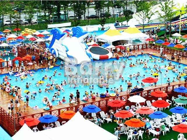 Products - Portable Swimming Pool - rectangular metal frame pool with slide for amusement park BY-SP-032 - Guangzhou Barry Industrial Co., Ltd.