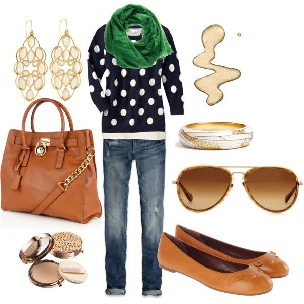 I love the Old Navy/Gap shirt and the Michael Kors bag. The beautiful thing about Polyvore--the ideas.....I have a navy stripe shirt and to pair it with a green scarf like this is genius!
