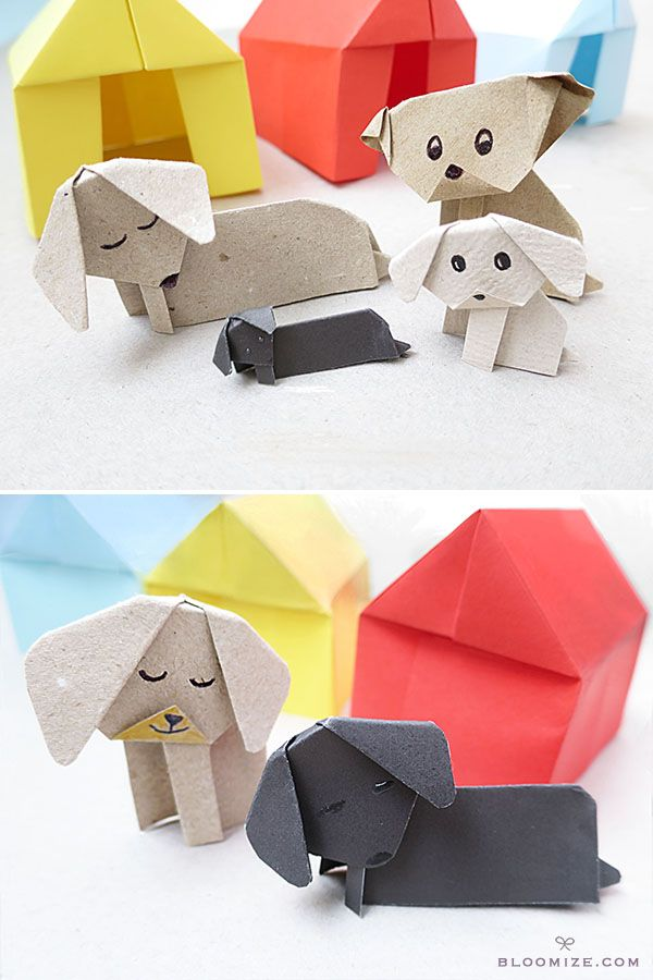 paper puppies, including dachshunds and kennels @ bloomize.com