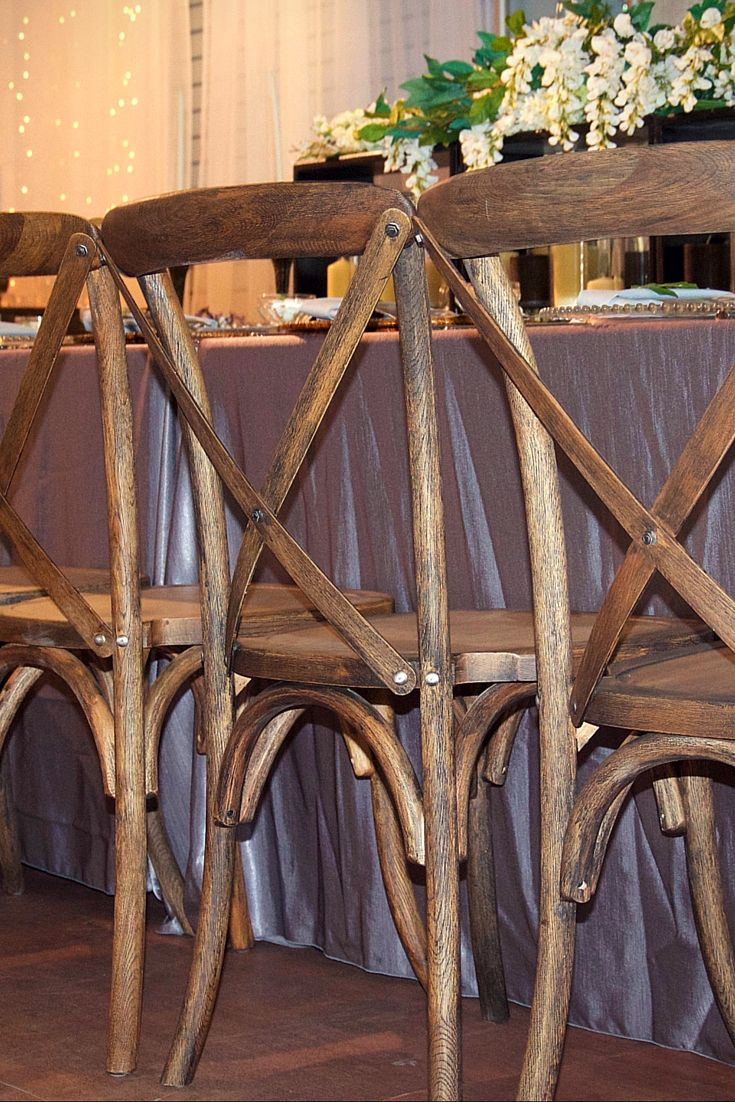 Our Rustic Crossback Chairs are stunning when paired with our Prairie Vineyard Collection