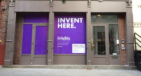 littleBits Electronics, Inc., the startup that is democratizing hardware by empowering everyone to create inventions, large and small, is opening its first ever littleBits Store in New York City. The pop-up store, located at 355 West Broadway in the SoHo district, is opening to the public on July 31, 2015, and will have a Grand Opening Celebration Thursday, August 6, 2015. (Photo: Business Wire)
