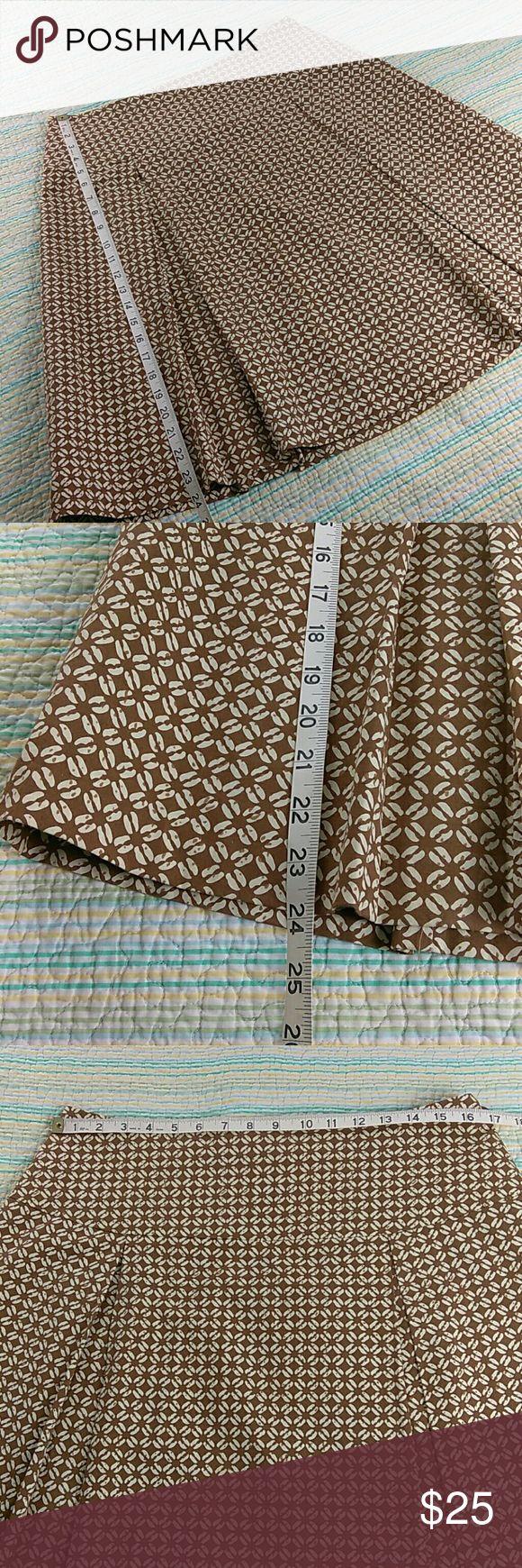 J Mclaughlin Brown Ivory Full A-Line Skirt Sz 12 J Mclaughlin Tan Brown Ivory Pleated Drop Waist Knee Length Full A-line Cotton Skirt Size 12 J. McLaughlin Skirts A-Line or Full