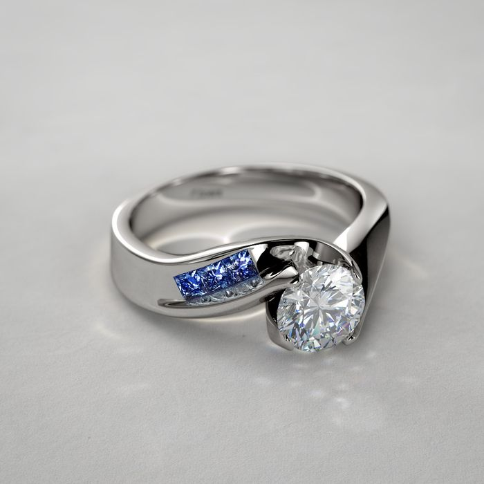 1/2 ctw Diamond and Princess-Cut Sapphire Engagement Ring in 14k White Gold