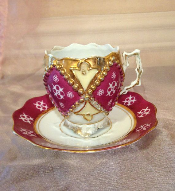 Antique Tea Cup and Saucer, Porcelain, sadly no makers mark, price adjusted. Victorian early 1900s, maybe Prussian Made, Gold Trimmed Beaded