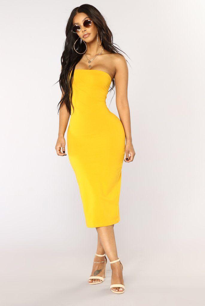 Rhianna Tube Dress - Mustard