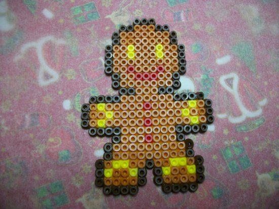 Bonhomme pain d'épices en perles hama  http://mes-petites-creations-13.skyrock.com/3238368457-Bonhomme-pain-d-epices-en-perles-hama.html