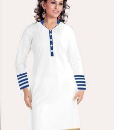 Buy White and blue cotton plain kurti kurtas-and-kurti online