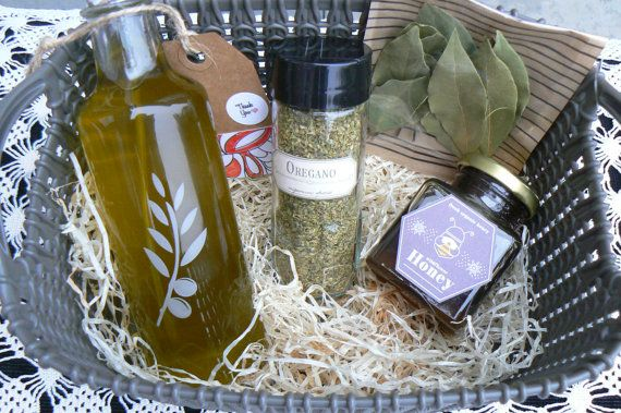 #Gourmet Gift Basket, #Extra Virgin Olive Oil, #raw honey, #oregano, #bay leaves by VintageNatureGreece