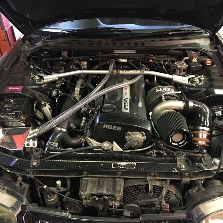 Justjap Customer Jason's Midnight Purple R33 GTR engine bay featuring the Sri catch can #nissan #car #nissangtr #r33gtr