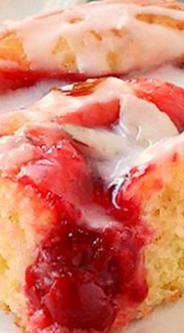 Glazed Cherry Coffee Cake ~ Easy to make... It's moist, soft and full of cherry flavor.