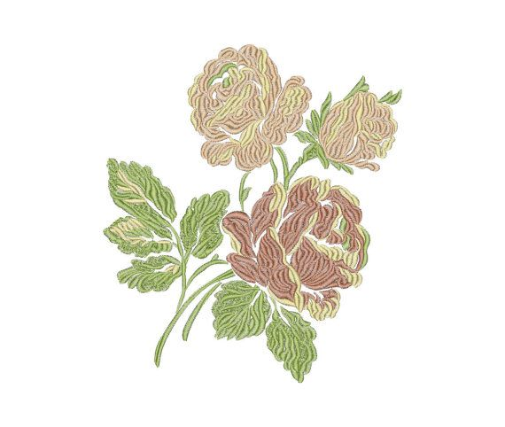 Roses, Flowers - Two designs - Machine Embroidery Design - Instant Download