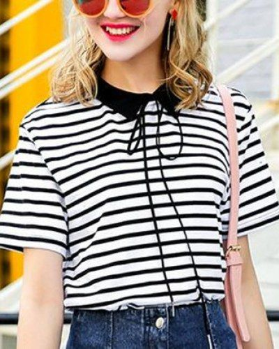 Black and white striped t shirt with collar and bow for girls