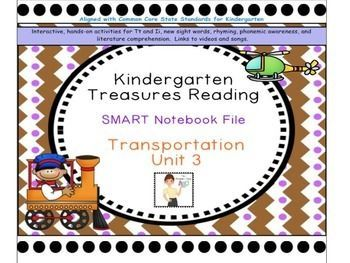The Kindergarten Unit 3 Treasures Reading SMART Notebook File was created by The Primary Place. There are 126 slides in this SMART Notebook 11 file. Please ensure that you are able to use SMART Notebook 11 prior to  purchasing this product.This package wa