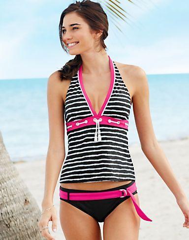 ECO SWIM by Aqua Green Striped Halterkini Two-Piece Swimsuit