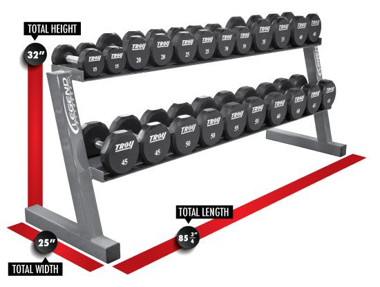 Legend Fitness 3118 Two-Tier Fully Welded Hex Dumbbell Rack Dimensions