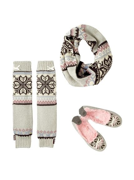 MUKLUKS Women's Tobey Slippers, Arm Warmers & Infinity Scarf warm and cuddly looking pair of slippers and nice accessories