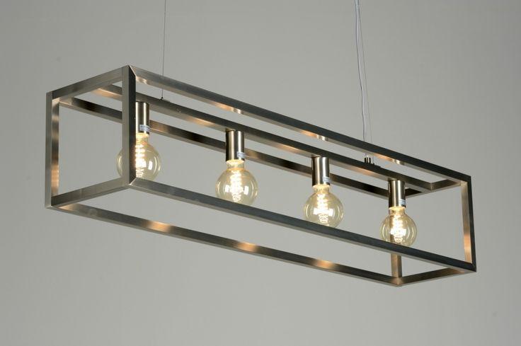 eettafel lamp hang stalen frame   hanglamp 87313: modern, design, staal , rvs