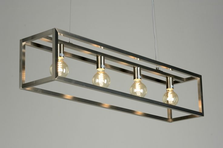 eettafel lamp hang stalen frame | hanglamp 87313: modern, design, staal , rvs