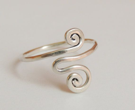 Sterling Silver Wire Adjustable Ring #Handmade #Wrap