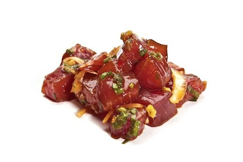 """poke   Poke— pronounced """"poh-keh""""—is the Hawaiian word for the action of slicing, or cutting crosswise into pieces. The fish dish, most commonly made with raw ahi (tuna), cut into cubes and seasoned with ingredients such as soy sauce,"""