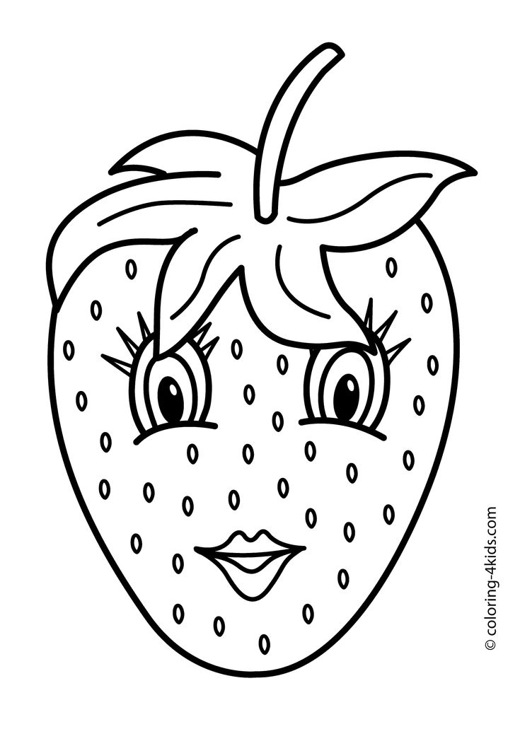 Strawberry with eyes - Fruits coloring pages simple for kids, printable free