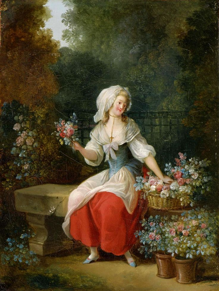 Flower-Woman in Red Apron by Jean-Frédéric Schall 1755.