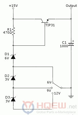 6 V/ 9 V/ 12 V Adjustable Linear Voltage Regulator Circuit