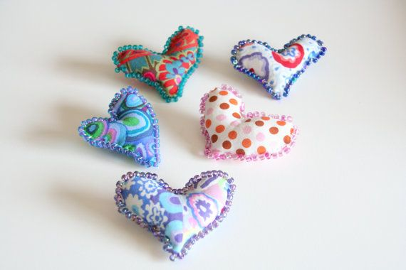 5 Fiber Art Heart Pins Valentines Day Kaffe by PaintFabricWhimsy