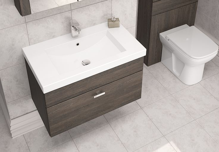 Mali Oak Modular Bathroom Furniture - Our stunning sit on basins make the most of the cabinet depth, and contrast the deep tones of Mali Oak.