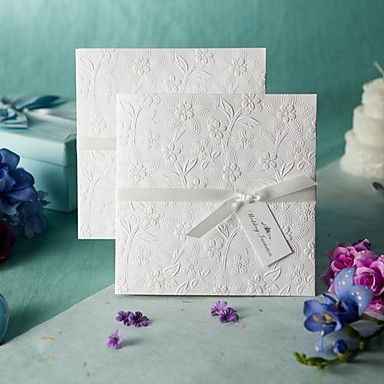 Sample White Embossed Spring Flowers Wedding Invitation (One Set) – USD $ 1.99