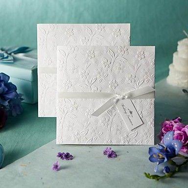 Sample White Embossed Spring Flowers Wedding Invitation (One Set) - USD $ 1.99