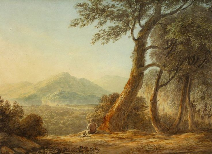 John Glover (1767-1849)   WATERCOLOR                              Derwent River , Tasmania