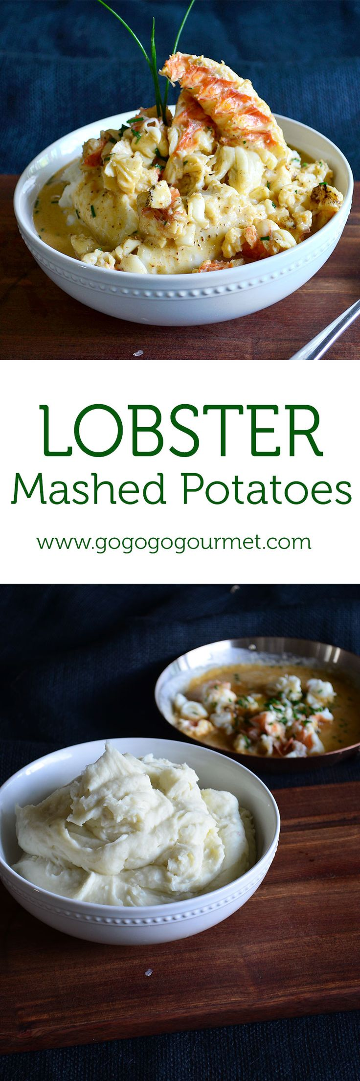 Lobster Mashed Potatoes- creamy boursin mashed potatoes, topped with lobster and an Old Bay cream sauce!
