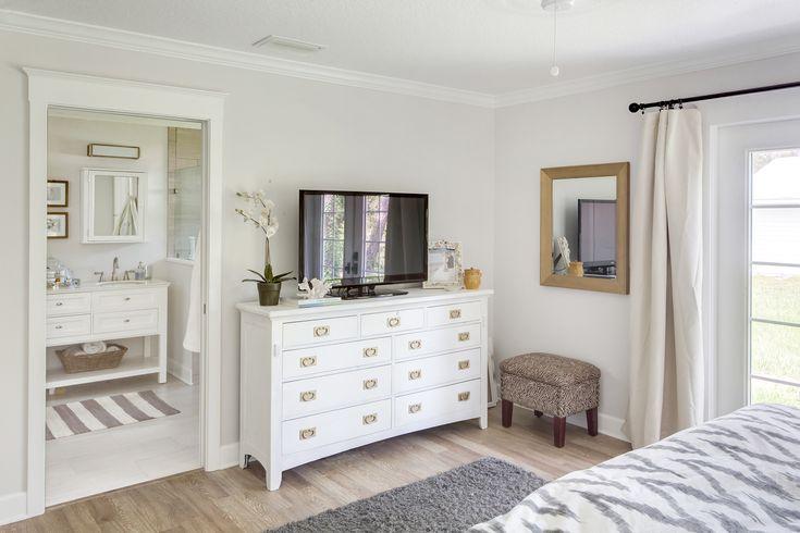 bedroom, before after, renovation, bedroom redo, revamp bedroom, grey bedroom, sunburst mirror, chevron west elm duvet, white bedroom furniture, american white paint, furry pillows, gold hardware, interior design