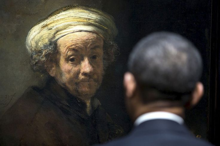 <strong>Amsterdam.</strong> Als president Obama op maandag 24 maart het Rijksmuseum bezoekt, is hij vijf jaar aan de macht. Hij heeft inmiddels heel wat grijze haren, net als Rembrandt in zijn zelfportret als de apostel Paulus. Het enthousiasme over Obama's verkiezing is ook in Europa omgeslagen in teleurstelling. Maar de meewarige blik waarmee Paulus de president aankijkt, Juurd Eijsvoogel,