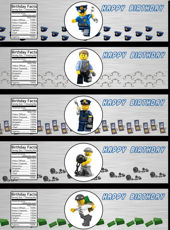 Lego City Police Department Waterbottle Labels by LCMomCreations