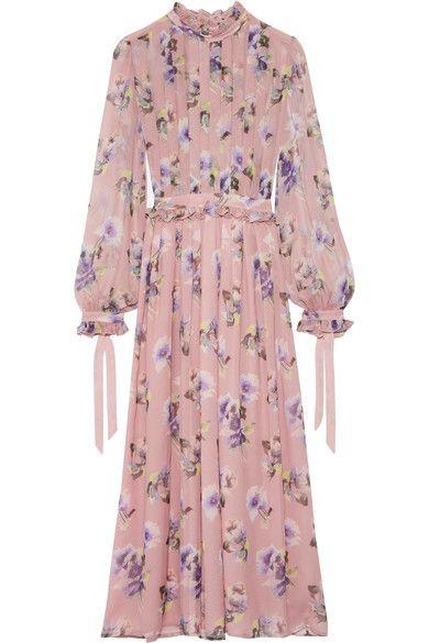MSGM - Pleated Floral-print Silk-chiffon Gown - Pastel pink - IT48