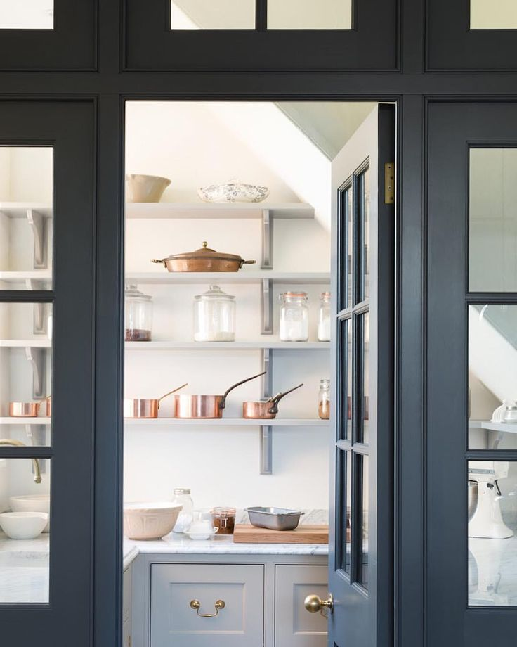 Charcoal and gray walk-in pantry
