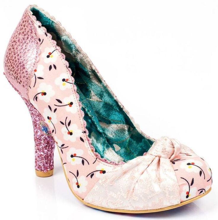 IRREGULAR CHOICE SMARTIE PINK FLORAL COURT SHOE KNOT - Shoe Addicts, England .. £62 with p&p ... (2016/09/11)