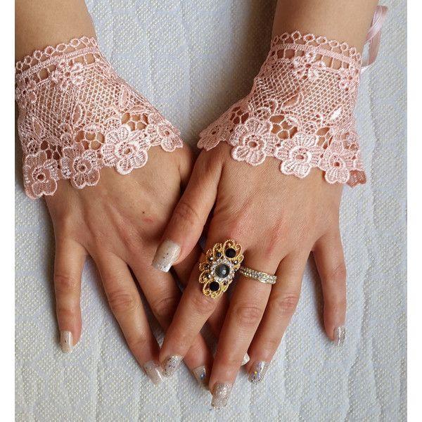wedding, peach wrist cuffs, bridal gloves,peach, lace,custom lace... ($20) via Polyvore featuring accessories