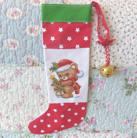 Ready to ship Bear Christmas stocking Red by CrossStitchElizabeth