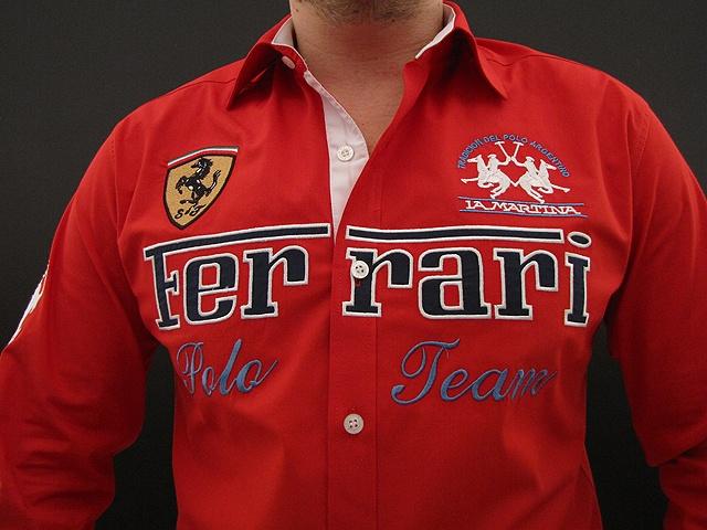 La Martina Men's Ferrari Shirt Red